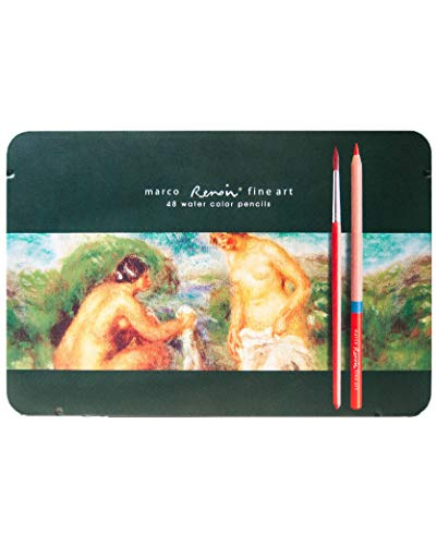 Watercolor pencils Marco Renoir Fine Art 48 colors in metal case. Extra Smooth and Break Resistant - Set of 48 Colors