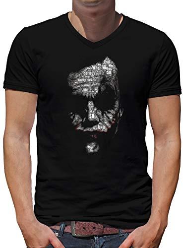 TShirt-People Joker Newsletter V-Kragen T-Shirt Herren L Schwarz