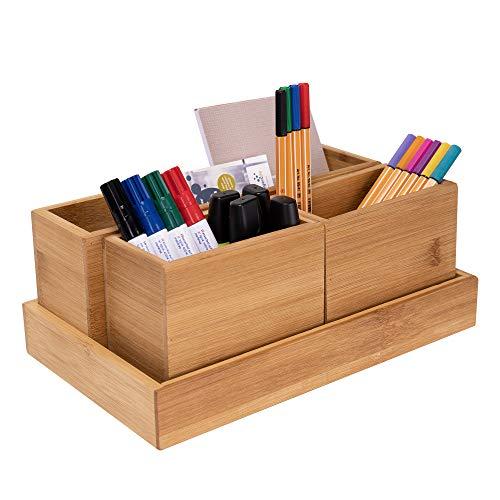 RSW24 Bambus Utensilien Box | 4er Set | Ordnungsboxen | Naturbelassen | Aufbewahrungsboxen | Schreibtischorganizer