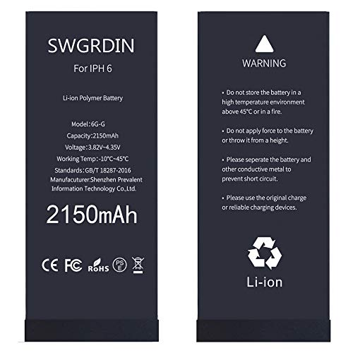 Swgrdin OEM Battery for iPhone 6 Battery Replacement, 2150mAH High Capacity for Apple iPhone 6 Battery with Full Tool Kits and Adhesive Strips 0 Cycle [2 Years Warranty]