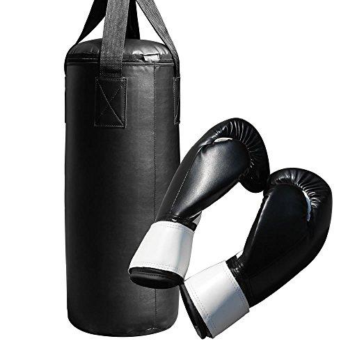 Melko Boxsack 9 Kg Sandsack inkl. Boxhandschuhe + Aufhängung, schwarz, ca. 60 x 25 cm (L x Ø)