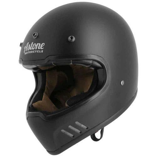 Astone Helmets - Casque intégral super rétro - Casque ultra-léger - Casque vintage homologué - Casque rétro en fibres de verre - Matt black XL