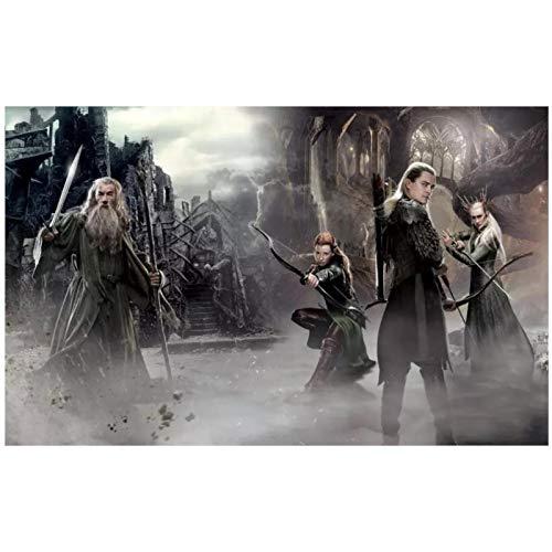 DrCor Filme Der Hobbit Die Schlacht der fünf Armeen Gandalf Legolas Tauriel Elfen Zauberer Leinwand Poster Druck Wohnkultur -50x75 cm Kein Rahmen 1St