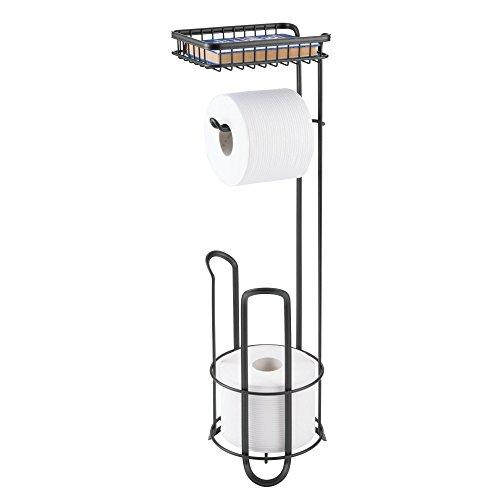 mDesign Toilettenpapierhalter ohne Bohren – Klorollenhalter fürs Badezimmer mit Ablage – zeitloser Papierrollenhalter aus Metall – mattschwarz