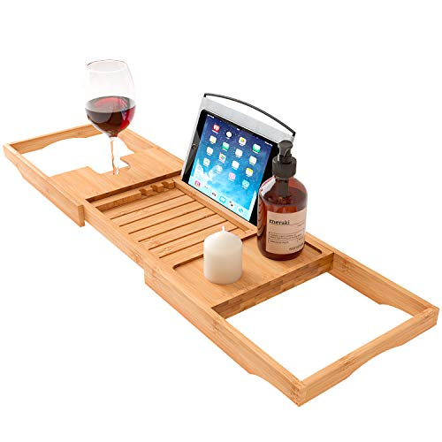 Home Intuition Wood Luxury Bamboo Over The Tub Expandable Shower and Bathtub Tray Caddy