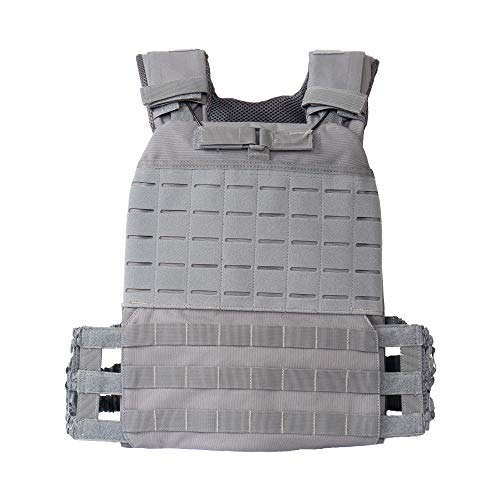 Tribe WOD Adjustable Weighted Vest Men and Weighted Vest Women/Endurance & Strength Training - Tactical Vest - Body Armor - Crossfit Weight Vest (Ash Grey)