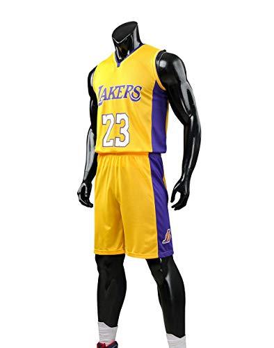 HS-XP Boys Girls Adult Hombres - Los Ángeles Lakers # 23 Lebron James NBA Basketball Forkseless Jersey Y Short, Fiesta Camisa + Pantalones Cortos De Verano,Amarillo,2XL(Child) 155~160CM