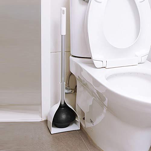 H·Aimee Práctico desatascador de baño,Desatascador del váter con Soporte para el baño,Desatascador de Inodoro Fabricado en plástico Resistente y Goma