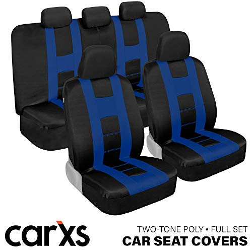 carXS Forza Series Blue & Black Car Seat Covers, Full Set – Front and Rear Bench Back Seat Cover Set, Easy to Install with Two-Tone Accent, Universal Fit for Cars Trucks Vans and SUVs