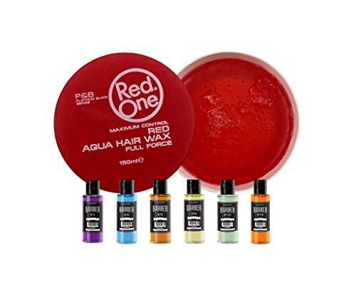 RedOne Barber Set Aqua Hair Gel Wax Rot Haarwachs Haar Styling Wachs Herren Haargel (2x150ml) Marmara Barber Eau de Cologne Duftwasser (1x50ml) (2x Red 150ml + 50ml)