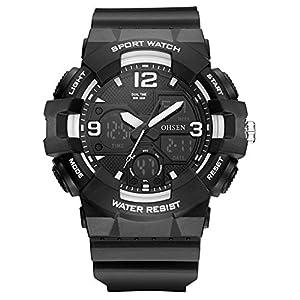 デジタル腕時計メンズ ミリタリー アナデジ スポーツウォッチ アラーム ストップウォッチ 曜日 日付表示 多機能付き led watch アウトドア 仕事 (ブラック ホワイト)