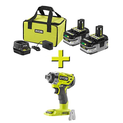 RYOBI P166-P238 18-Volt ONE+ Brushless Impact Driver with ONE+ LITHIUM+ HP 3.0 Ah Battery (2-Pack) Starter Kit with Charger and Bag