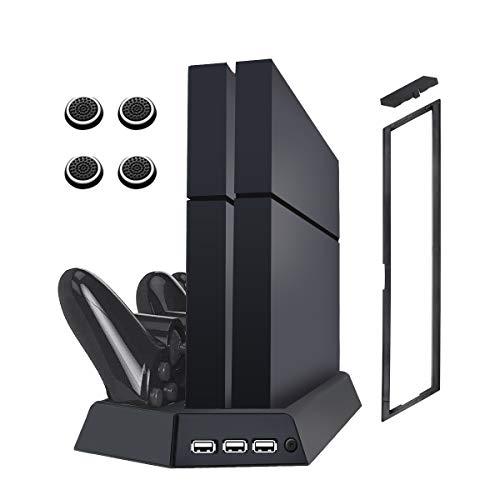 VICKMALL Ps4 Vertikaler Kühlerlüfter mit Dual Shock 4 Ladestation für Playstation Ps4/ Ps4 Slim /Ps4 Pro Controller 3 USB-Hub-Anschluss 14 Spiele-Disc-Halter und 4 Zeiger