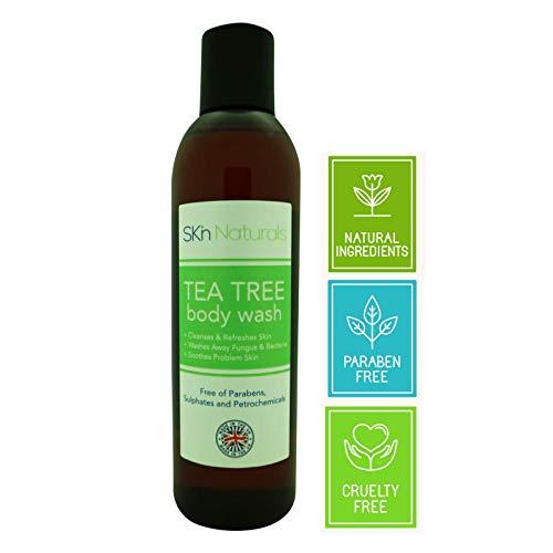 Sapone Antifungino con Olio di Tea Tree - Gel Doccia 100% Naturale e Gel Corpo - Elimina Batteri - Allevia Acne, Odori, Ligna, Funghi alle Unghie e Pi