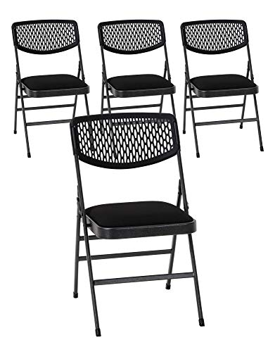 Cosco Commercial Fabric Folding Chair, 4 Pack, Black Fabric/Hammertone Frame
