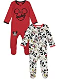 Disney Mickey Mouse Baby Boys Zip-Up Sleep N' Play Coverall Red & Gray 6-9 Months