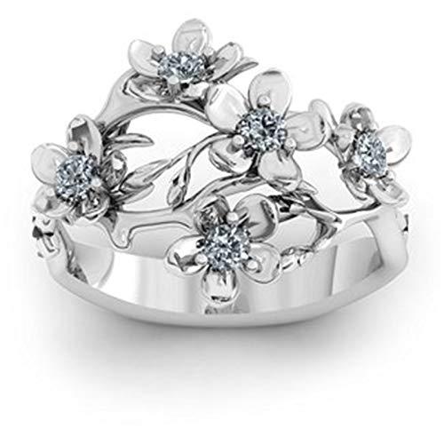 5 anillos de piedra natal personalizados, anillo de nombre DIY, anillo de flores, anillo de promesa, Navidad para mujeres(Plata 15.5)