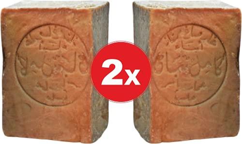 2x Original Aleppo Seife 80%/20% - mit Olivenöl 80% Lorbeeröl 20% fürs Haar Gesicht & Körper - 100% Naturprodukt Vegane – Alepposeife Olivenölseife Handarbeit 400g – Plastikfreie Verpackung