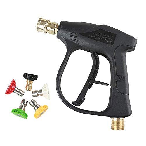Honeyhouse Hochdruckreiniger Pistole mit 5 Wasserdüse Tip, 3000 PSI Hochdruckpistole M22 Aussengewinde passend für Mechanischen Ausrüstung, Böden, Wände, Fenster Windows und Autos