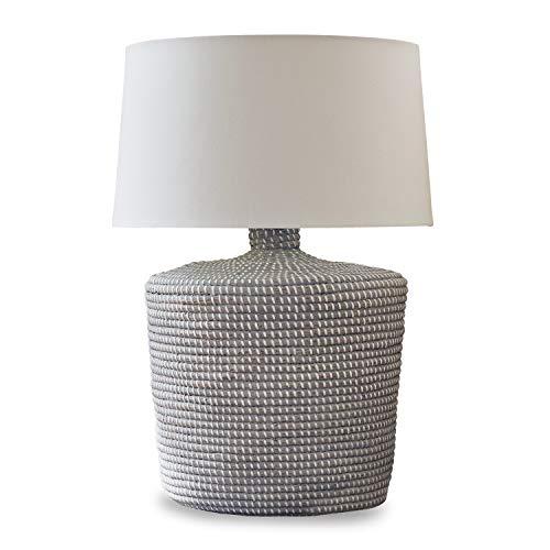 Loberon tafellamp Nadya, zeegras, katoen, H/Ø 64/33,5 cm, wit, E27, max. 60 watt, A++ tot E