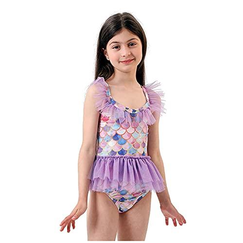 KASSAE Sirena Bañador Niña de Una Pieza, Traje de Baño con Volantes para Hawaiano Playa o Piscina, Regalos para Niñas 5-11 Años