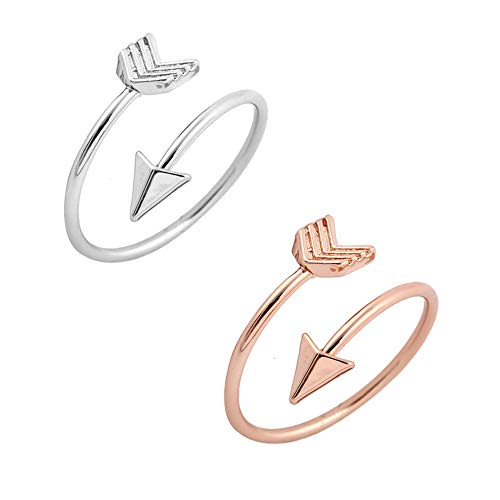 METTU Silver and Rose Gold Open Adjustable Love Arrow Ring for Girls (R+S)