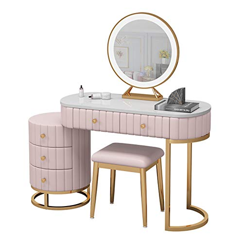 YF-Barstool Waschtisch mit LED-Leuchten, 5 Schiebeschubladen, runder Spiegel Make-up Schminktisch mit gepolstertem Hocker Set für Schlafzimmer