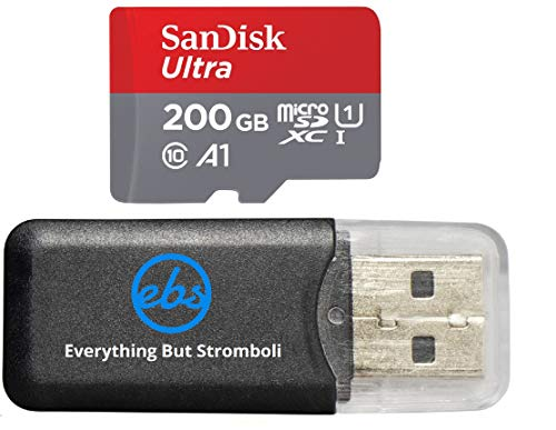 200GB SanDisk Ultra UHS-I Class 10 80mb/s MicroSDXC Memory Card works with Nintendo Switch Neon Video Game with Everything But Stromboli Memory Card Reader