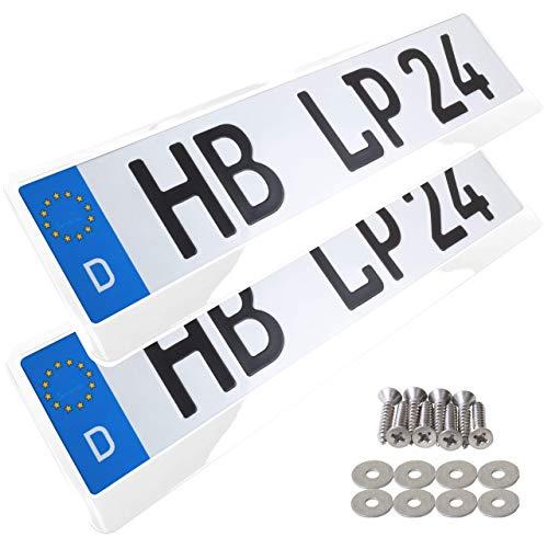 A158 Kennzeichenhalter 2 Stück Auto Nummernschildhalter weiß hochglanz Kennzeichenverstärker Kennzeichenhalterung Nummernschildhalterung Verstärker Halter für Kennzeichen Nummernschild edel glänzend