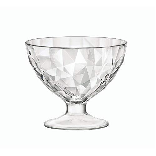 Bormioli Rocco 302253 Diamond Trasparente Eisbecher, Eisschale, 220ml, Glas, transparent, 12 Stück