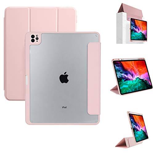 YMXuan Funda para iPad Pro de 12,9 pulgadas, 2021, 5ª generación con soporte para bolígrafo, cubierta magnética extraíble, triple pliegue, función de encendido y apagado automático (rosa)