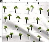 Spoonflower Stoff - Palmen einfarbig grün Tropische