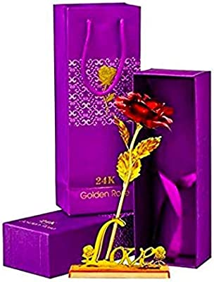 A ONE CREATIONS Artificial Flowers Red Rose with Love Stand (Red;Gold//1 Golden Red Rose 1 Love Stand)