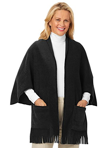 Fleece Shawl, Black, One Size Fits All