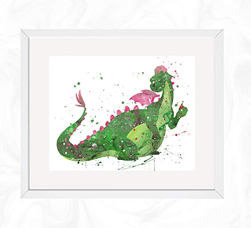 Elliott Holding Apple Prints, Pete's Dragon Disney Watercolor, Nursery Wall Poster, Holiday Gift, Kids and Children Artworks, Digital Illustration Art