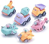 ZWOOS Coches de Juguete para Niños, 6 Piezas Vehículos de Construcción Coche de Juguete Tire hacia Atrás del Coche, Juguetes de Coches de Fricción para niños y niñas de Infantiles
