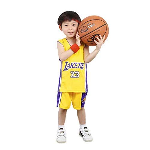 KSWX Camiseta de Baloncesto Niño Lakers # 23 Lebron James Traje De Entrenamiento De Baloncesto para Hombres Y Mujeres,Yellow,L