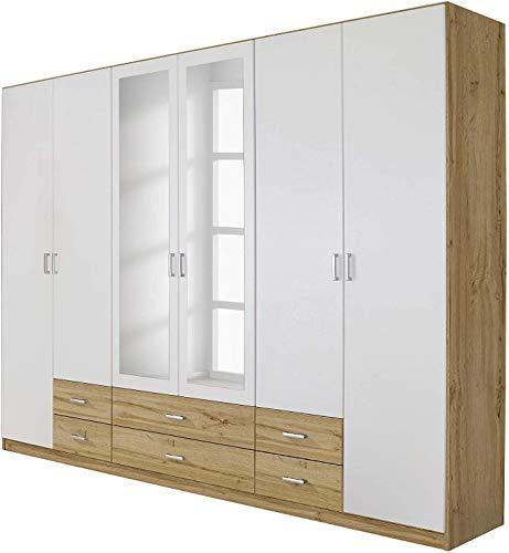 Armadio multiuso con mobili, con specchio, mensole e barre pensili, cassetti, adatto per le camere da letto,White wood