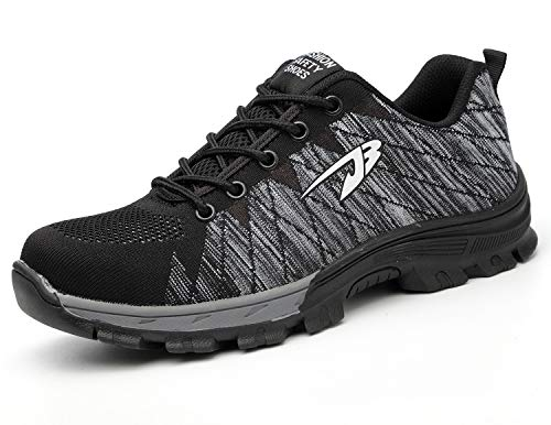 Zapatos de Seguridad para Hombre Transpirable Ligeras con Puntera de Acero Zapatillas de Seguridad Trabajo, Calzado de Industrial y Deportiva 48