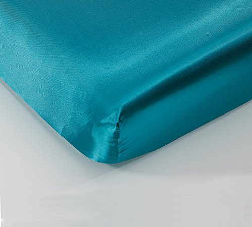 """EliteHomeProducts Super Soft & Silky Satin Crib Fitted Sheet (30"""" X 55"""") +10"""" Deep Pockets (Teal)"""