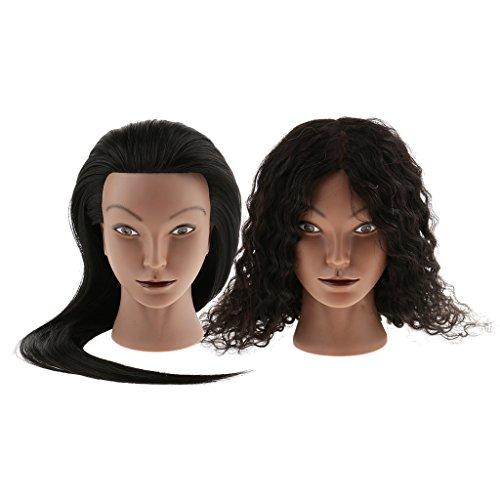 MagiDeal Tête d'Exercice Femme Noire en Silicone à Vrais Cheveux Frisé + Tête Mannequin Femme Afro à Vrais et Faux Cheveux Mélangés - Tête Mannequin de Cosmétologie pour Entraînement