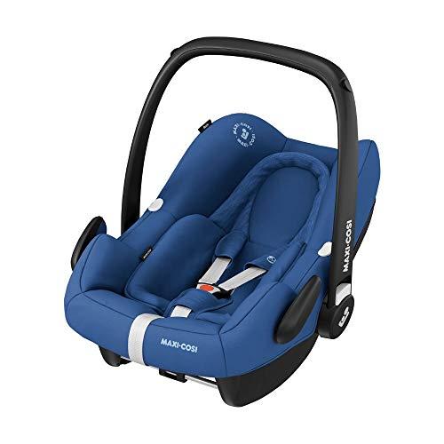 Maxi-Cosi Rock Babyschale, sicherer Gruppe 0+ i-Size Baby-Kindersitz (0-13 kg), nutzbar ab der Geburt bis ca. 12 Monate, passend für FamilyFix One Basisstation, essential blue, 8555720110