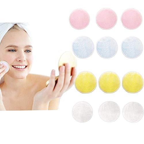 Allbesta Tampons de Maquillage Velours en bambou d/émaquillants lavables tampons d/émaquillants r/éutilisables avec sac /à linge 4 pi/èces