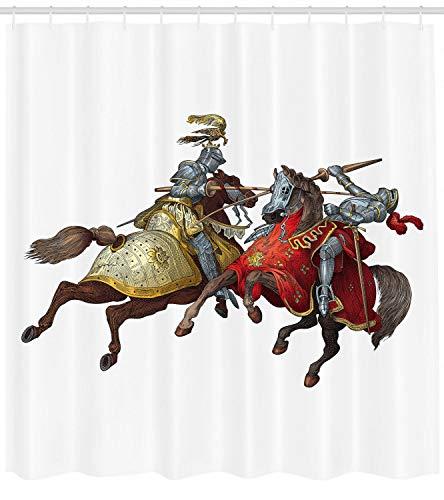 123456789 Mittelalterliche Ritter mit altem Rüstungskostüm-Illustrations-Duschvorhang