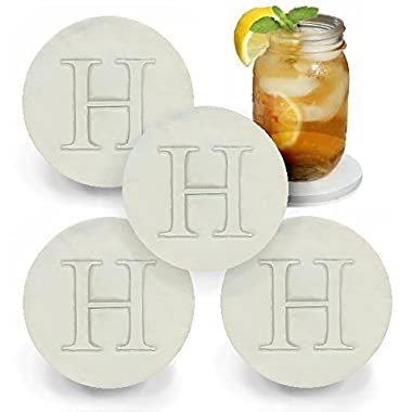Drink Coaster set, Monogramed Letter H by McCarter Coasters (4pc)