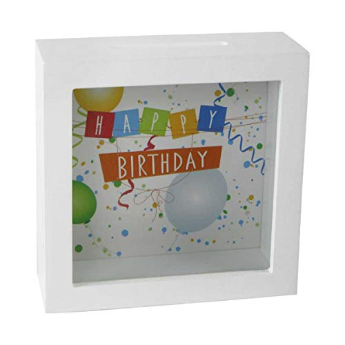"""wunderschöne Spardose"""" Happy Birthday"""" aus Holz/weiß zum Hängen oder Stellen"""