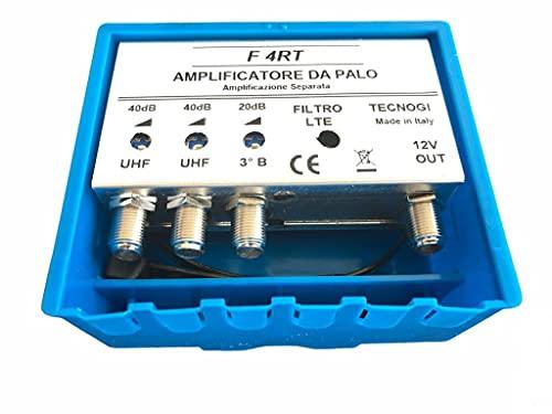 Vsnetwork Amplificador antena TV de mástil con filtro Lte/4G, ganancia máxima de 40 dB ajustable, amplificador antena TV 2 entradas UHF + 1 Vhf, bandas separadas