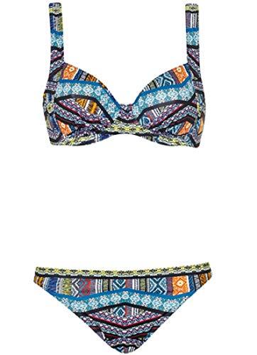 Olympia Damen Bikini Happiness mit Formbügeln, Mehrfarbig (schwarz/Multicolor 910), 40B