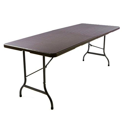 Nexos GM34544 Klapptisch 183 x 76 x 74 cm Partytisch Catering Gartentisch klappbar Campingtisch bis 170 kg stabil robust Wetterfest 18,5 kg Tragegriff weiß braun schwarz Farbe wählbar