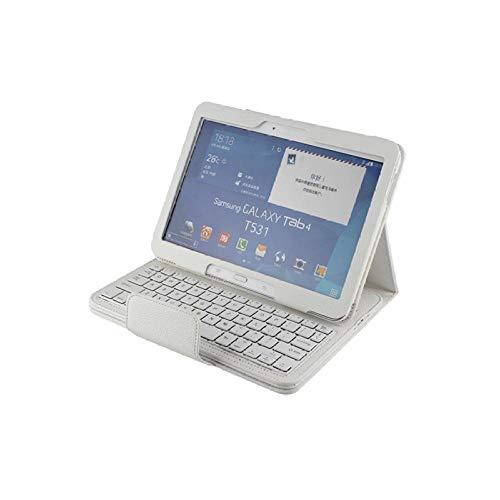 Teclado inalámbrico Bluetooth para Galaxy Tab 4 10.1 Funda para Galaxy Tab4 10.1 T530 Tablet Funda con Soporte de Cuero con Tapa + Bolígrafo-Blanco